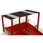 4. Ein Dach über der Plattform LXC (OPT-RF). Der Bausatz wird in einer zerlegten Form geliefert und von dem Kunden an Ort und Stelle montiert.